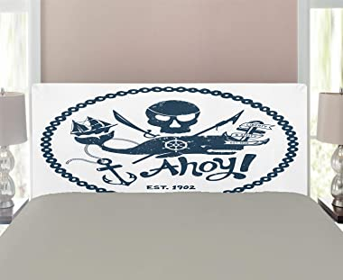 Ambesonne Anchor Headboard, Vintage Style Nautical Pirate Skull and Whale Design with Ship Anchor Image, Upholstered Decorati