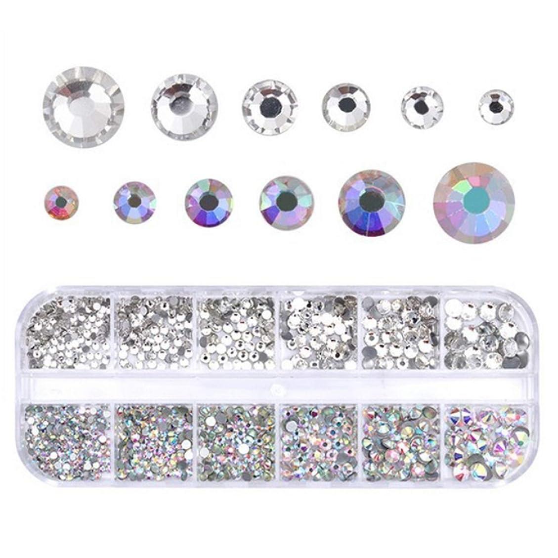 で出来ている原稿ピースMigavann 12-Grids ネイルアートラインストーン ネイルクリスタルフラットバックラインストーンクリアガラスチャーム宝石ストーンダイヤモンド
