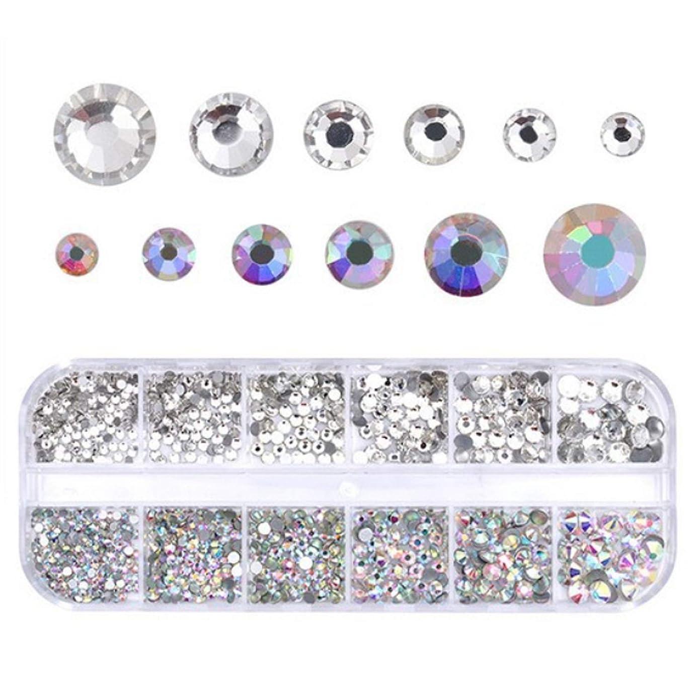 事件、出来事静的上下するMigavann 12-Grids ネイルアートラインストーン ネイルクリスタルフラットバックラインストーンクリアガラスチャーム宝石ストーンダイヤモンド