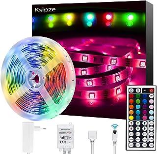Tiras LED,Ksipze 5050 SMD RGB 5m de Longitud 150 LED Multicolor Control Remoto de 44 Botones y Fuente de Alimentación para Habitación, Dormitorio, Techo, Decoración de Armario