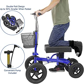 Clevr Quad All Terrain Foldable Medical Steerable Knee Walker Scooter, Blue, Walking Aid Roller for Foot Injuries, Height Adjustable Crutch Alternative, Deluxe Brake System & Basket