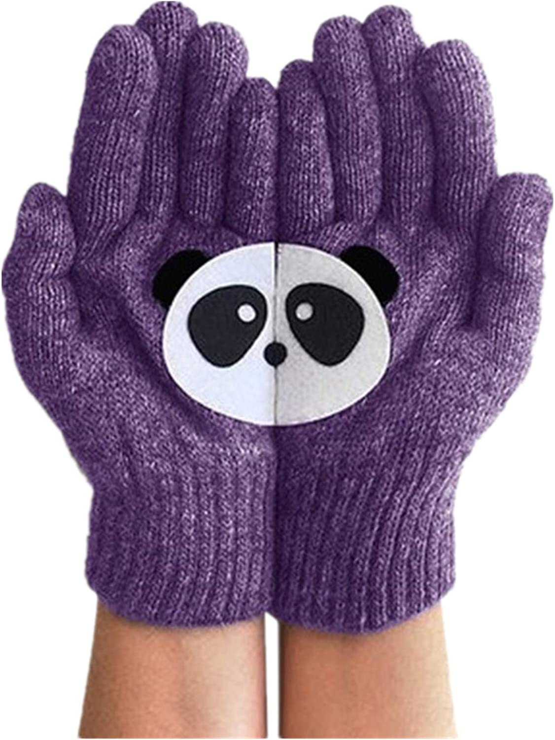 Touch Screen Gloves with Elk Printing Warm Knit Winter Full Finger Gloves Christmas Gifts for Women