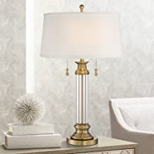 Rolland Traditional Table Lamp Crystal Brass Column Off White Tapered Drum Shade for Living Room Family Bedroom - Vienna Full Spectrum