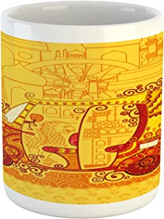 Lunarable Ethnic Mug, Auto Rickshaw on Famous Monument Traditional Culture Artwork, Printed Ceramic Coffee Mug Water Tea Drinks Cup, Marigold and Red