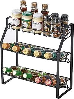 Spice Rack Kitchen Countertop Organizer Storage Shelf,3 Tier Jars Bottles Seasoning Standing Rack Spice Org...