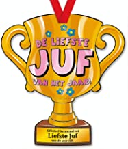 trofee Liefste Juf van het jaar! 33 cm karton goud