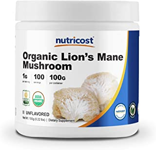 Nutricost Organic Lion's Mane Mushroom Powder 100 Grams - Certified USDA Organic