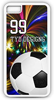 Cell Phone Case Fits iPhone Models 6s or 6 Create Your Own Soccer SC1059 with Player Jersey Number and/Or Name Or Team Name Customizable by TYD Designs in White Rubber