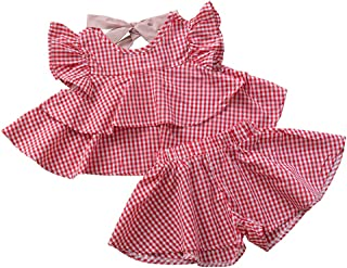 Weixinbuy Kids Baby Girls Polka Dot Crewneck Shorts Summer Clothes Set Casual Outfits Clothes