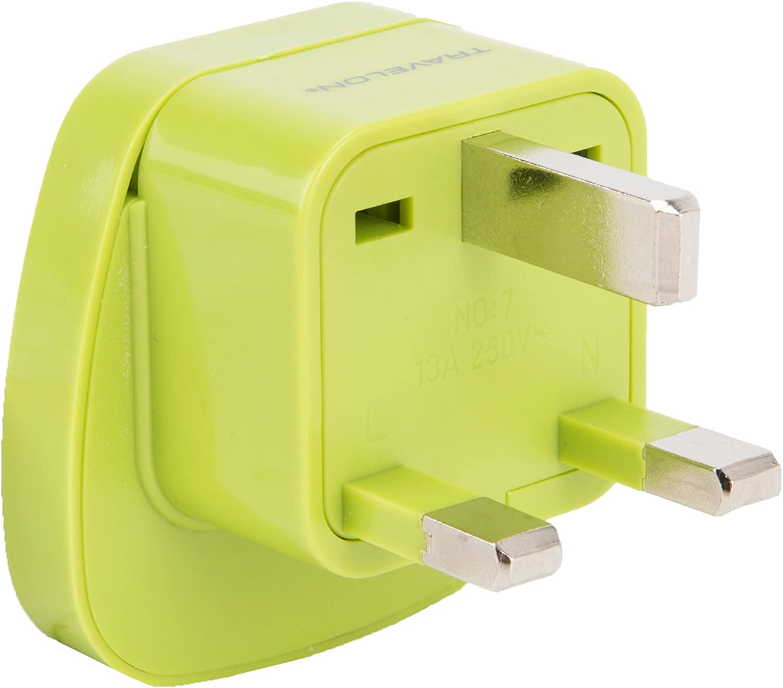Travelon U.k. Grounded Adapter Plug, Lime, One Size