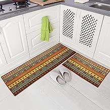 """Carvapet 2 Piece Non-Slip Kitchen Mat Runner Rug Set Doormat Vintage Design Indian Style,Stripe (20""""x59""""+20""""x31"""")"""