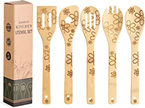 5 Pcs Bamboo Cooking Utensils Set,Flower Wooden Cooking Spoons, for Housewarming Birthday Anniversary Kitchen Gift