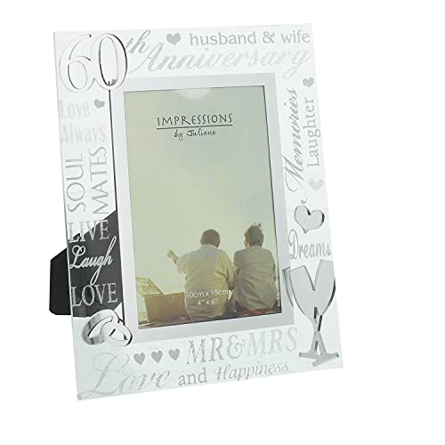 Oaktree Gifts 60th Anniversary Mirrored Photo Frame 4 x 6
