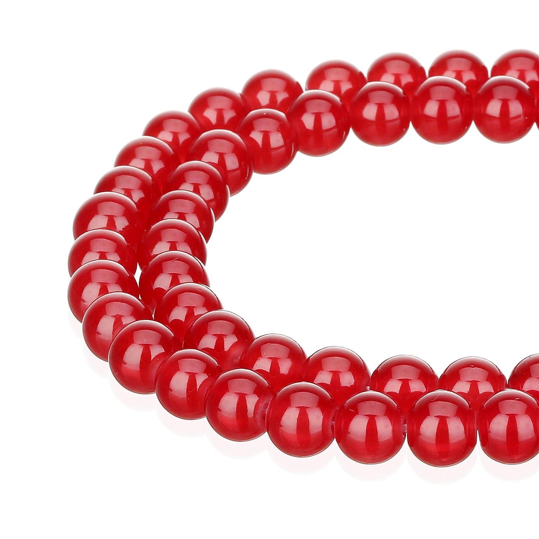 RUBYCA 1 Strand 6MM Jade Imitation Round Painted Coated Glass Beads Jewelry Making Light Siam Red