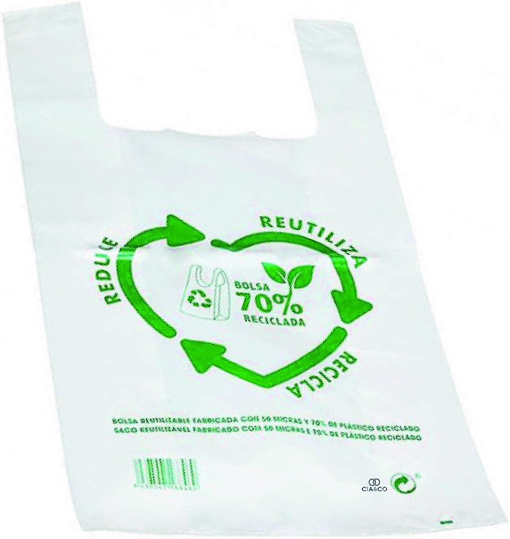 Bolsas de Plástico Tipo Camiseta Resistentes, Reutilizables y 70% Recicladas | Galga 200 | Tamaños Variados | Gran Resistencia | 70% Recicladas | Cumple Normativas | Aptas Uso Alimentario