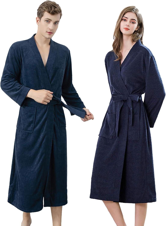 Jixin4you Lightweight 100% Terry Cotton Kimono Robe, Couples Unisex Spa Hotel Pool Bathrobe, Nightwear Dressing Gown