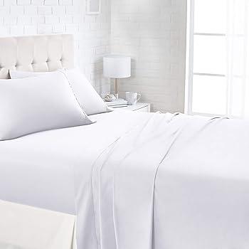 AmazonBasics 1100TC Luxury Easycare Bed Sheet Set - Queen, White