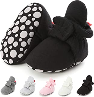 Infant Baby Soft Cotton Booties Stay On Non Skid Newborn Toddler Boys Girls Slipper Socks First Walker Crib Shoes