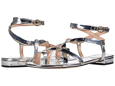 J.Crew Mirror Metallic Toe Strappy Lucy Sandal (Metallic Silver) Women