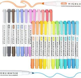 Stylos surligneur, 25 stylos fineliners à double tête assortis colorés, pointe biseautée, surligneurs minces, marqueur pas...