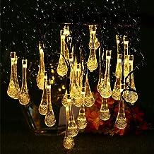 Lwind Water Drop Solar String Lights, 22.96ft 50 LED Outdoor Bulb String Lights, Waterproof 8 Modes Solar Patio Lights for...