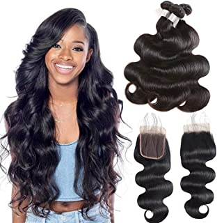 Youth Hair Peruvian Body Wave with Closure 9A Body Wave 3 Bundles with 4x4 Closure Free Part 4 pcs/lot 100% Unprocessed Human Hair Extensions (10