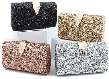 TENDYCOCO Abendtasche Pailletten Clutch Bag mit Kette Glitter Leaf Party Geldbörse für Frauen