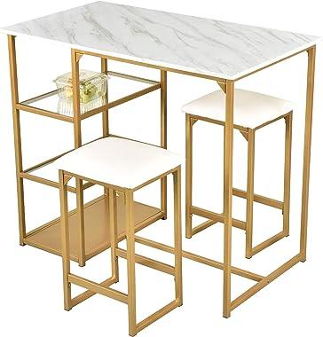 Amolife Modern 3-Piece Counter Dining Pub Kitchen Bar Table Set with 2 Compact Bar Stools, Metal Frame, Shelf Storage, Brass