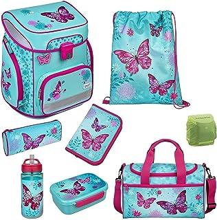 Butterfly Schulranzen-Set 9tlg. Scooli Easy FIT Ranzen 1. Klasse mit Sporttasche Schmetterling und Blumen türkis BUTE8255 ...