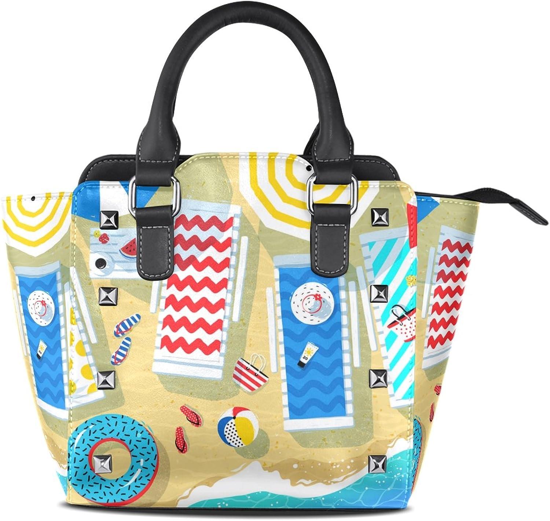 My Little Nest Women's Top Handle Satchel Handbag colorful Summer Beach View Ladies PU Leather Shoulder Bag Crossbody Bag