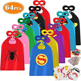 64pcs Superhero Capes for Kids Costume Boys Children with Super Hero Toys Games Masks Stickers Superhero Classroom Decorations Birthday Superhero Party Favors Supplies