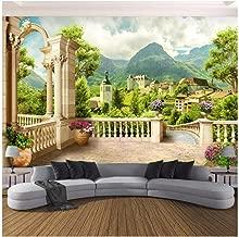 WSTDSM Custom-3D Photo Wallpaper-Roman Column Balcony Small Town Nature Landscape-Room Bedroom Wall Mural-Wallpaper Home Decor-300(W) x200cm(H)(9'2
