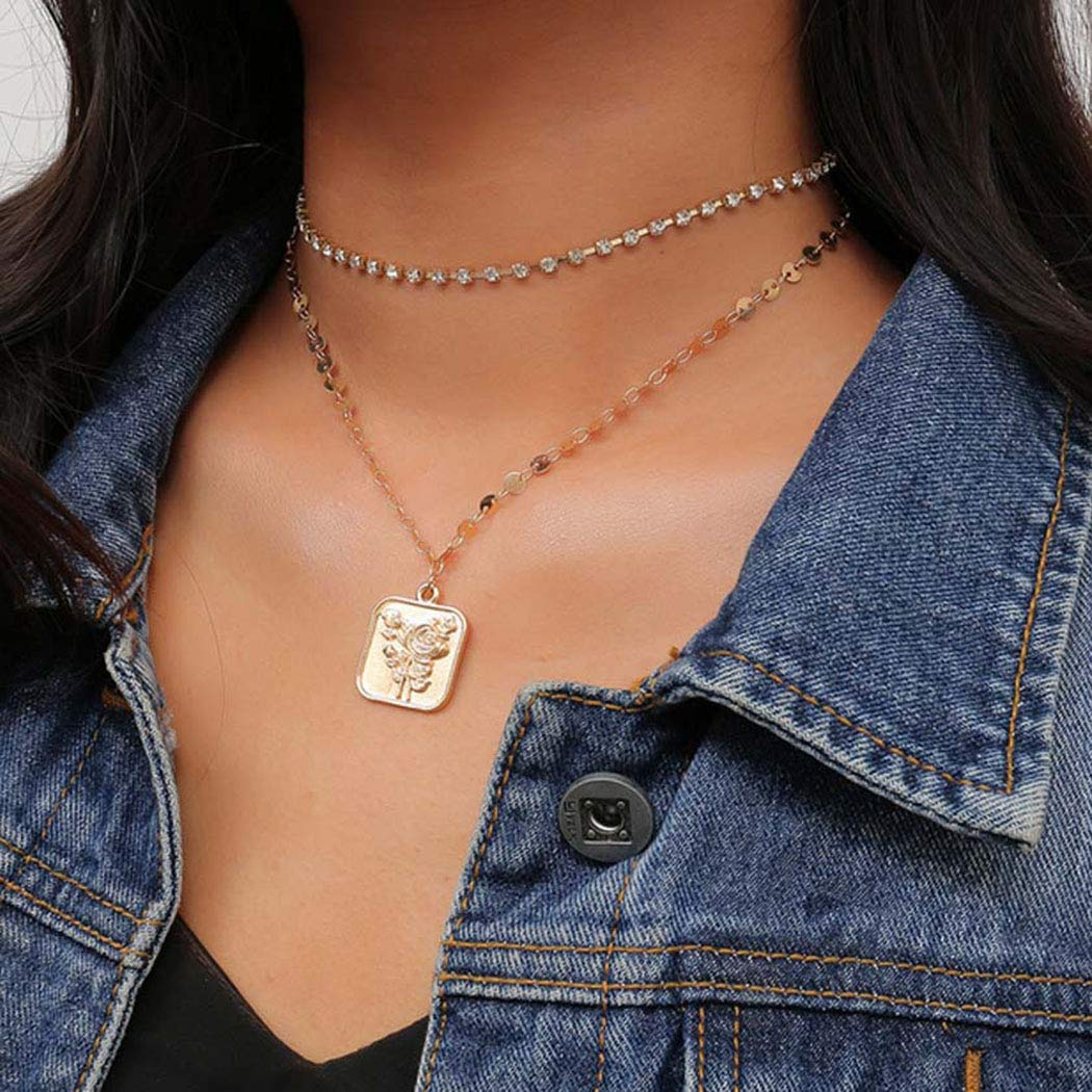 Jakawin Layered Choker Necklace Gold Coin Multi-layered Necklaces Sequins Adjustable Rose Chain for Women and Girls NK149
