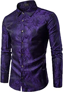 Mens Floral Rose Printed Long Sleeve Dress Shirts Prom Wedding Party Button Down Shirts