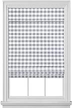 GoodGram Premium Cordless Retractable Buffalo Check Plaid Gingham Custom Roman Shades - Assorted Sizes & Colors (Gray, 36 in. W x 64 in. L)