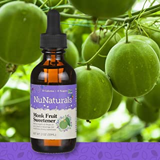 NuNaturals All Natural Liquid Monk Fruit Sugar Free Sweetener, Zero Glycemic Index, Zero Calories, 148 Servings (2 oz)