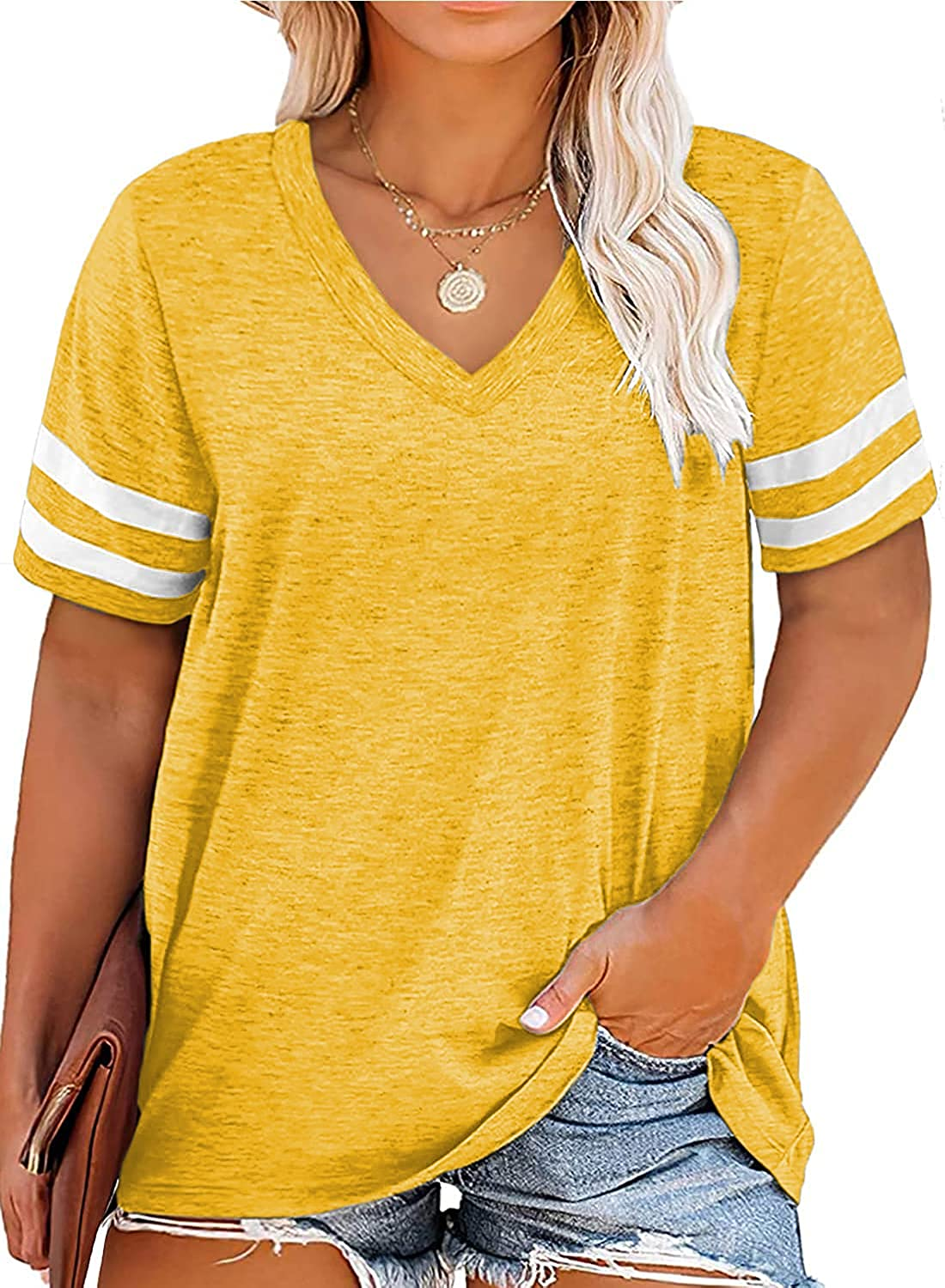 Plus Size Tops Tunics V Neck Short Sleeve Loose Tee Shirts for Women