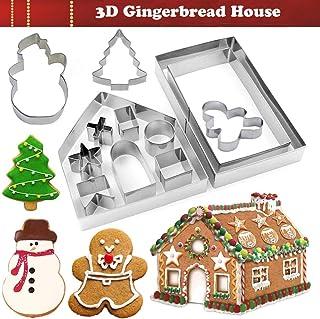KAISHANE Navidad Casa de jengibre Set de cortadores de galletas Cortador de fondant de pastel de galletas de 10 piezas (Incluye Gingerbread Man, Snowman, Tree)
