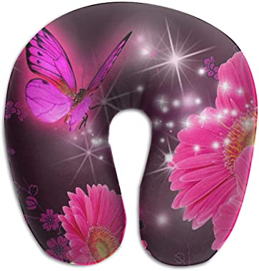 XOMAO Travel Pillow Pink Flower Purple Butterfly Printed Neck Pillow Memory Foam Head Neck Support Pillow Adjustable Airplane