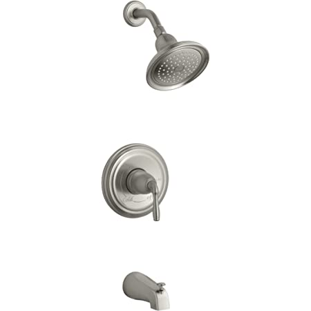Kohler Worth 1 Handle 3 Spray Tub And Shower Faucet In Vibrant Brushed Nickel Valve Included Amazon Com