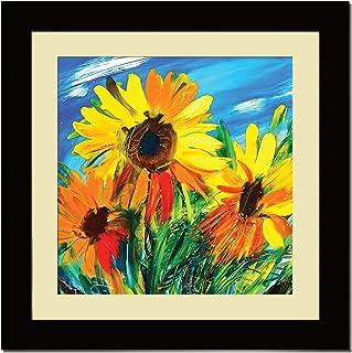 ArtX Paper Premium Sunflower Wall Art, Multicolor, Floral, 16X16 in, Set of 1