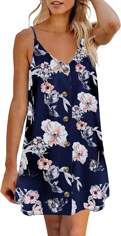 ONHUON Summer Dresses for Women,Formal Dresses for Women Elegant Spaghetti Strap Dress Casual Sleeveless Mini Dress