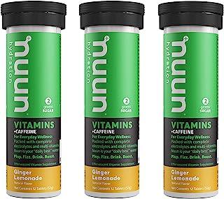 Nuun Vitamins + Caffeine: Ginger Lemonade Daily Supplement (3 Tubes of 12 Tabs)