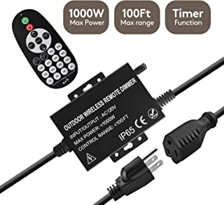 1000W Wireless RF Outdoor Dimmer Switch, Outdoor Dimmer,Remote Control Dimming Controller - 100FT Range Max /IP65 Waterproof/Dimming for LED String Lights with 8 Brightness Mode, Memory Function