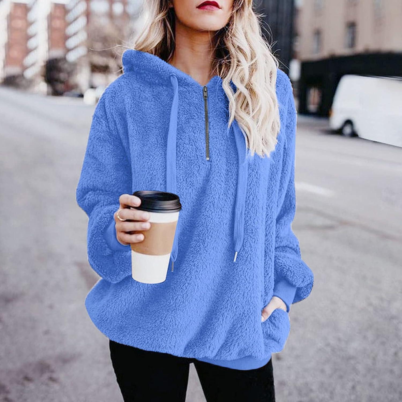 SNKSDGM Hoodies for Womens Oversized Fuzzy Fleece Zipper Pullover Warm Casual Loose Hooded Sweatshirt Outwear with Pockets