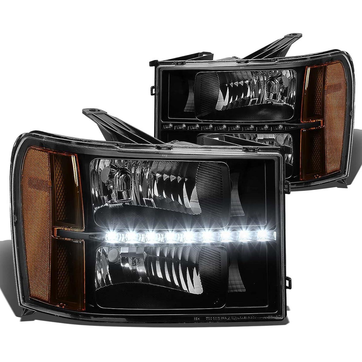 DNA Motoring HL-LED-GMCSIE07-BK-AM Headlight Assembly (Driver and Passenger Side)
