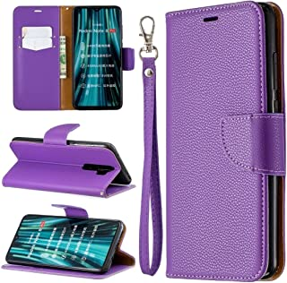 For Xiaomi Redmi Note 8 Pro Litchi Texture Pure Color Horizontal Flip PU Leather Case with Holder & Card Slots & Wallet & Lanyard New (Dark Blue) MengT (Color : Purple)
