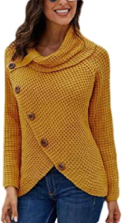 Womens Chunky Turtle Cowl Neck Loose Cable Knitted Pullover Sweaters