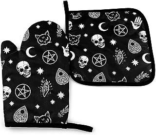 hdyefe Manoplas de horno y soportes para ollas, diseño de calavera, gato, luna, gótico antideslizante, guantes de cocina de resistencia al calor avanzada, guantes de cocina para barbacoa