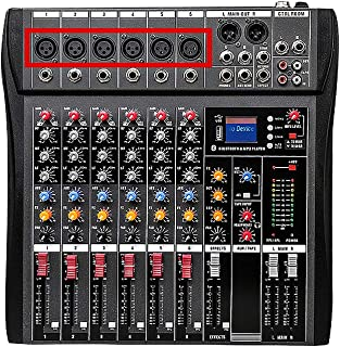Walmeck U6 Musical Mini Mixer 6 Channels Audio Mixers BT USB Mixing Console with Sound Card Built-in 48V Phantom Power US Plug